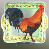 Peggy Karr Rooster Glass Serving Platter