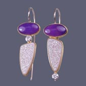 Sugilite and Druzy Earrings by Karen Nottonson